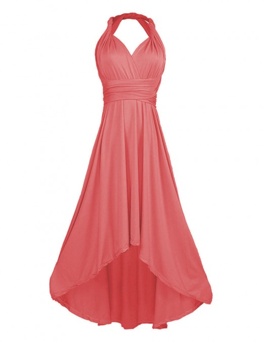 Suave Orange Multi-Wear Sleeveless Plain Ruched Evening Dress