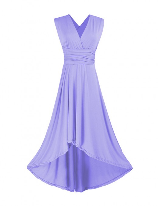 Purple Sleeveless Maxi Length Evening Dresses Ruched For Traveling