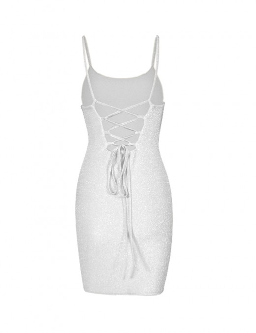 Super Sexy White Lace Up Open Back Slender Strap Bodycon Dress