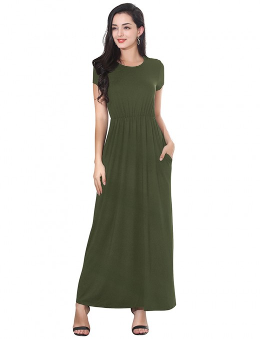 Refined Army Green Round Neck Pocket Short Sleeve Maxi Dress