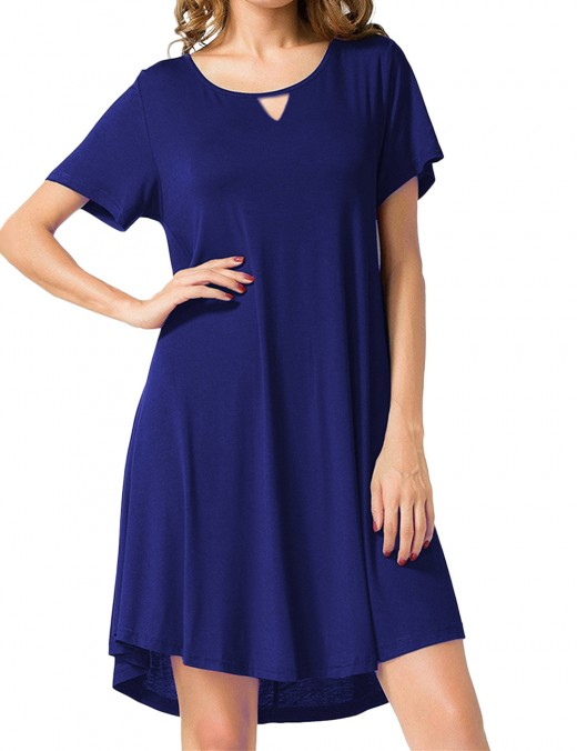 Navy Blue Hollow Out Short Sleeve Crew Neck Mini Dress Chic Trend