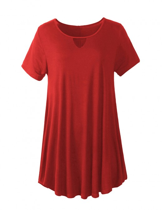 Glorious Wine Red Swing Hem Plain Crew Neck Mini Dress Hollow Out