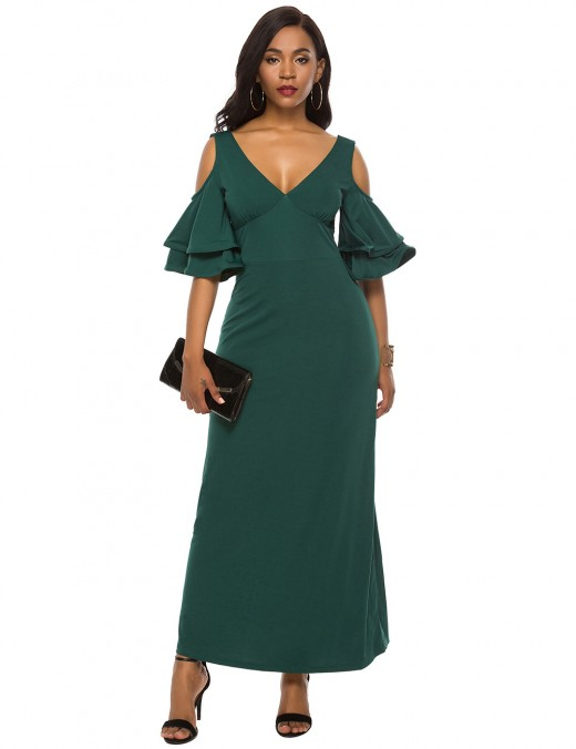 Dark Green V Collar Cold Shoulder Maxi Dress Zipper Back Good Elasticity