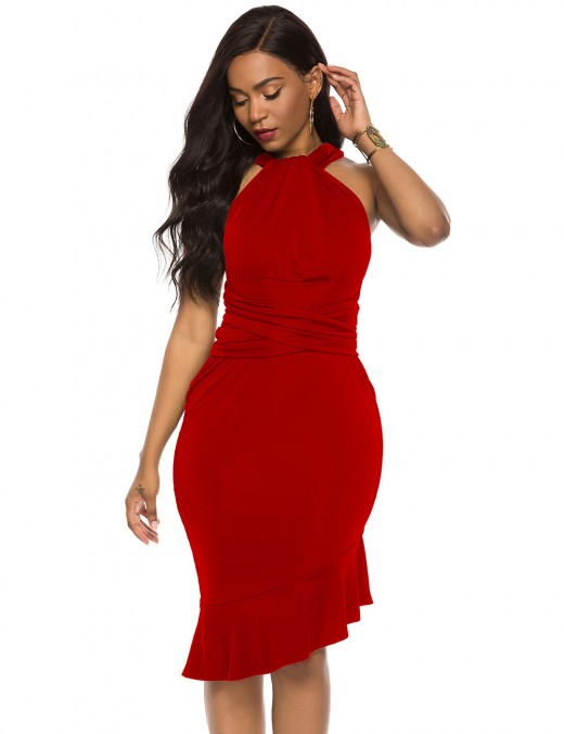 Intrigued Red Slant Hem Pure Color Sleeveless Evening Dress Ultra Sexy