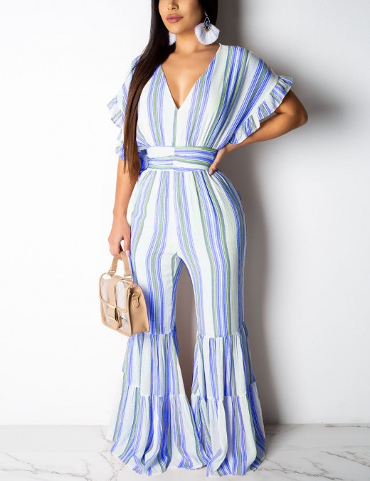 Glitzy Blue Stripe Ruffle Sleeve Hollow Back Jumpsuit Comfort Fit