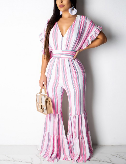 Liberty Pink Button Smocking Stripe V Neck Jumpsuit Hollow For Female