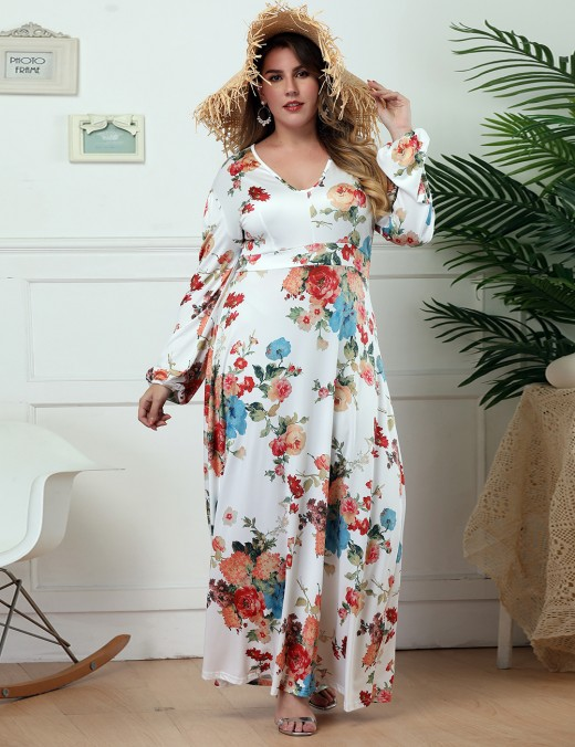 Sassy White Flower Long Sleeve U Neck Maxi Dress Big Size