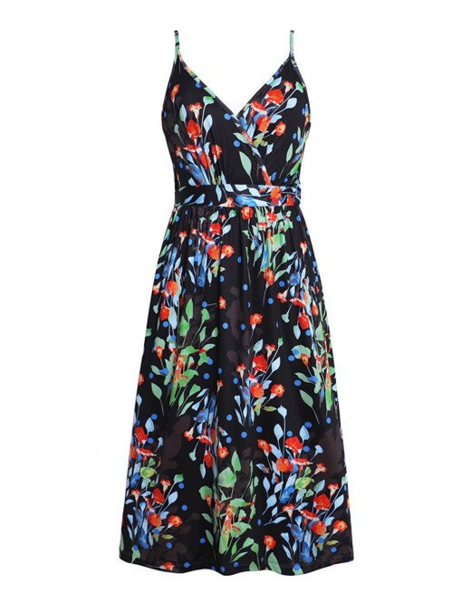 Pullover Empire Waist Print V Neck Skater Dress Sling Fashion