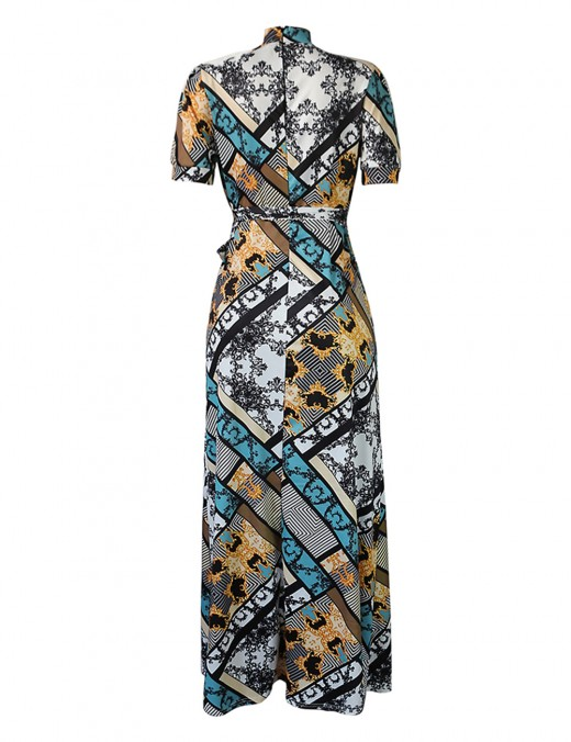 Dramatic High Neck Large Size Knot Print Maxi Dress For Women