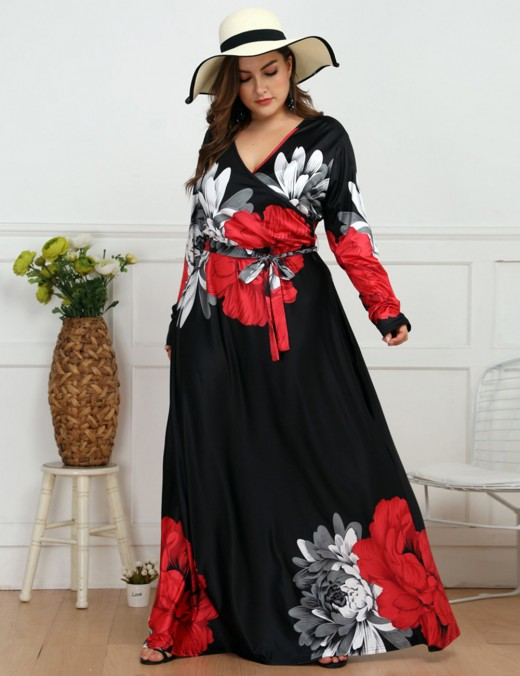 Sexy Large Size Flower Knot Wrap V Neck Maxi Dress Ladies Grace