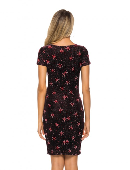Comfortable Pink Round Neck Star Printed Tight Mini Dress Wholesale
