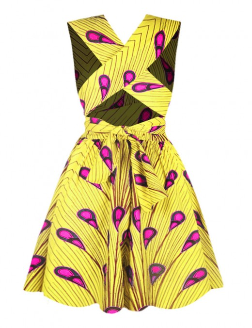 Close Fit Yellow Multi-Wear African Print Mini Dress Fast Shipping