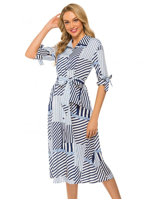 Gracious Light Blue Plaid Stripes Bow Tie Midi Dress Lapel Wear