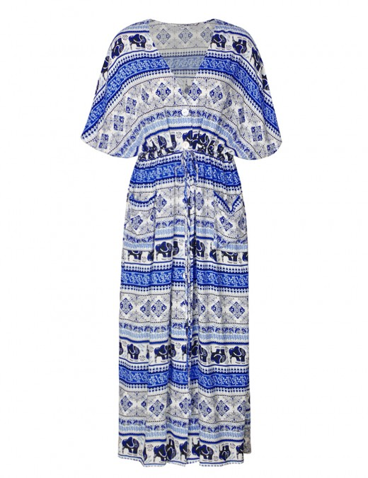 Contouring Blue Buttons Down Geometric Print Maxi Dress Pocket Online