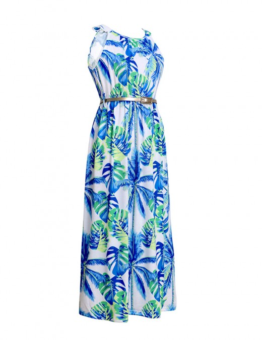 Silhouette Leaf Print Sleeveless Waist Belt Midi Dress Loose Fit