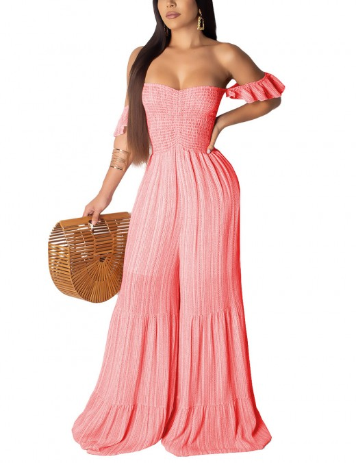 Lovely Red Smocking Open Back Off Shoulder Stripe Jumpsuit Form Fitting