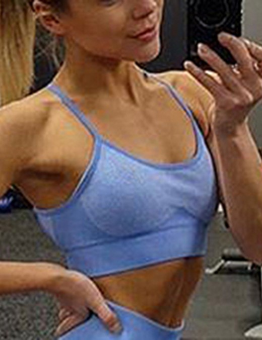 Irregular Blue Open Back Seamless Sports Bra Widened Hem Simplicity