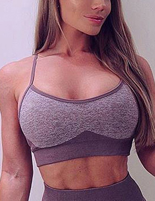 Fitting Purple Widened Seamless Sports Bra Spaghetti Straps For Lounging