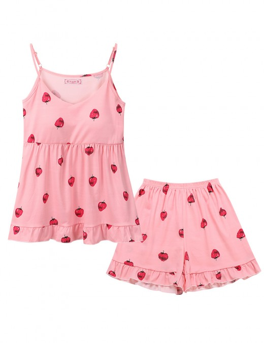 Exceptional Pink Backless Spaghetti Strap Strawberry Sleepwear Set Tight