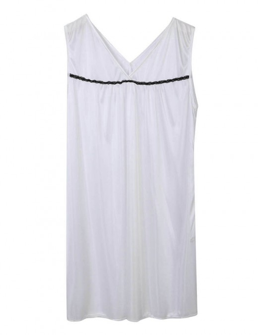 Sensational White Wide Strap V Collar Large Size Sleeveless Sleepwear For Couple