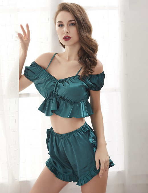 Ecstasy Green Ruched Two Pieces Frilled Cropped Sleepwear Fashion Decor