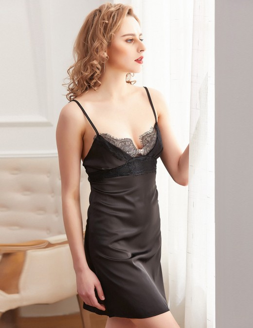 Enthralling Black Lace Cami Open Back Chemise Lingerie Faux Silk