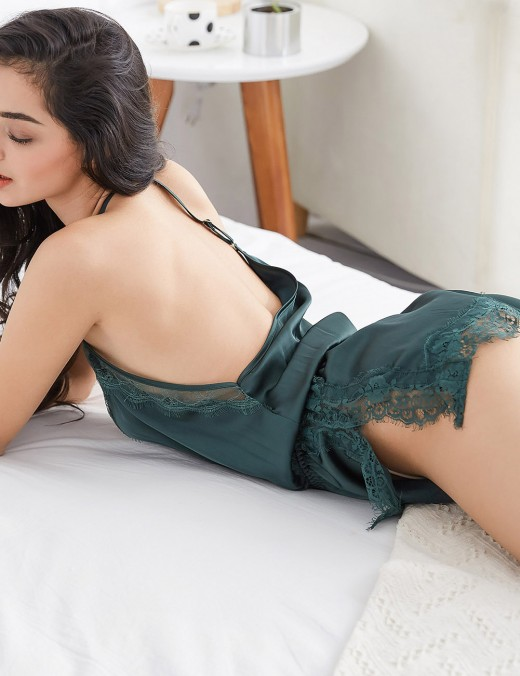 Playboy Sexy Green Silk Backless Split Teddy Eyelash Lace Nightwear