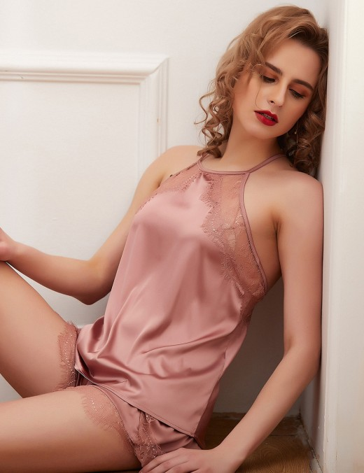 Vanity Pink Faux Silk Backless Sleepwear Set Lace Eyelash Garment