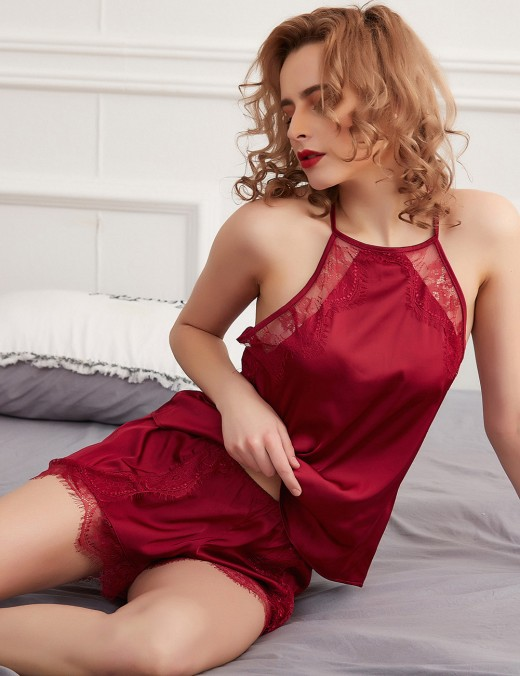 Purplish Red Halter Open Back Lace Patchwork Sleepwear Set Allover Loose Fit