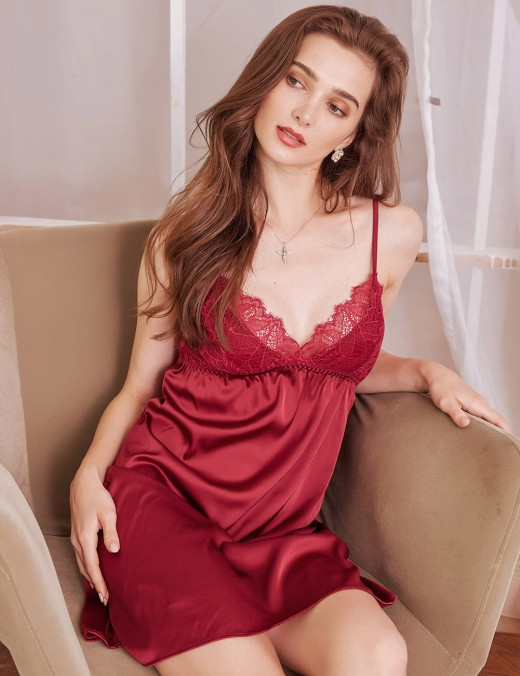 Purplish Red V Neck Lace Sling Faux Silk Backless Chemises Mature Female