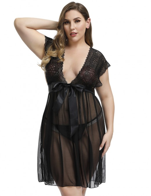 Homely Black Plunging Neck Lace Knot Mesh Babydoll Big Size Trend