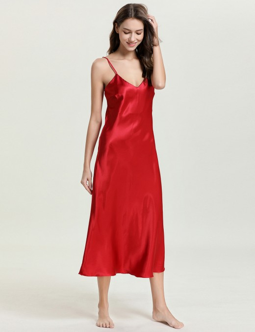 Flirting Red Adjustable Strap V Neck Sleepwear Open Back Mature Female