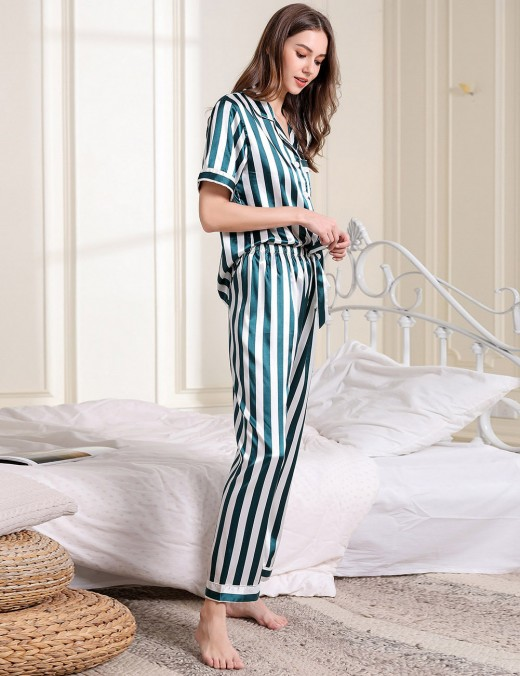Close Fit Bow Tie Faux Silk Button Pocket Sleepwear Set Ultra Sexy