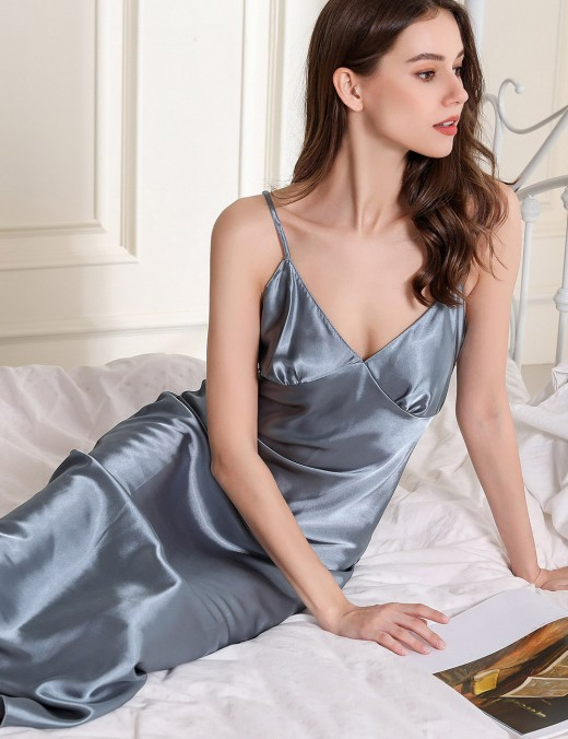 Sale Online Light Blue Open Back Crisscross Plain Sleepwear V Collar For Female
