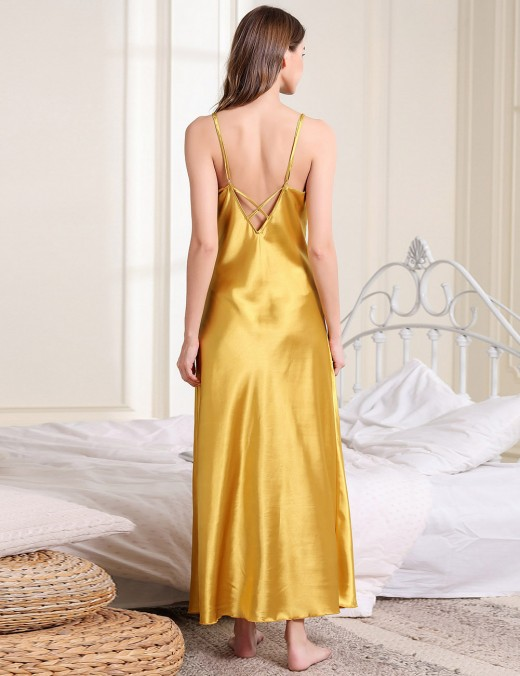 Lovely Yellow V Collar Pure Color Faux Silk Sling Sleepwear Exotic Cutie