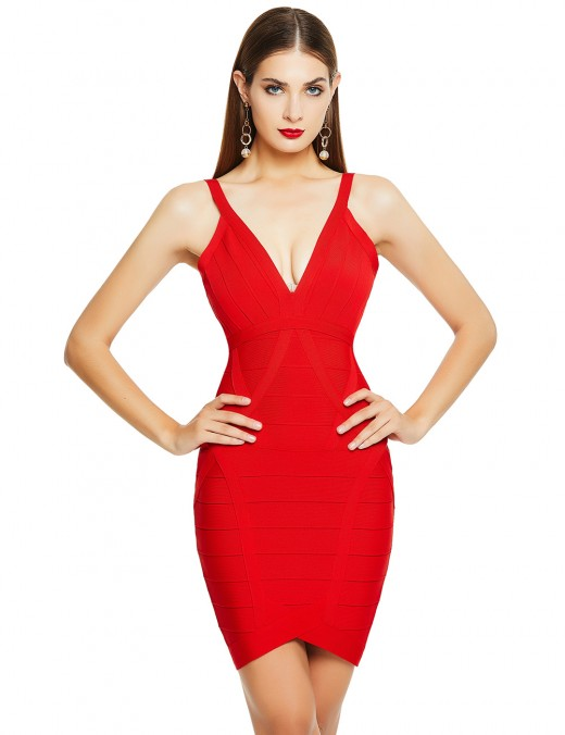 Good-Looking Red V-Neck Sleeveless Zipper Back Mini Bandage Dress Outdoor
