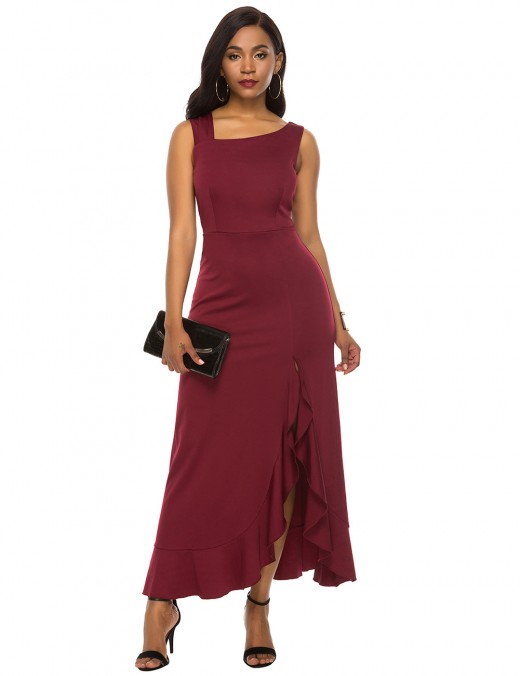 Trendy Wine Red Ruffles Trim Sleeveless Asymmetric Collar Maxi Dress