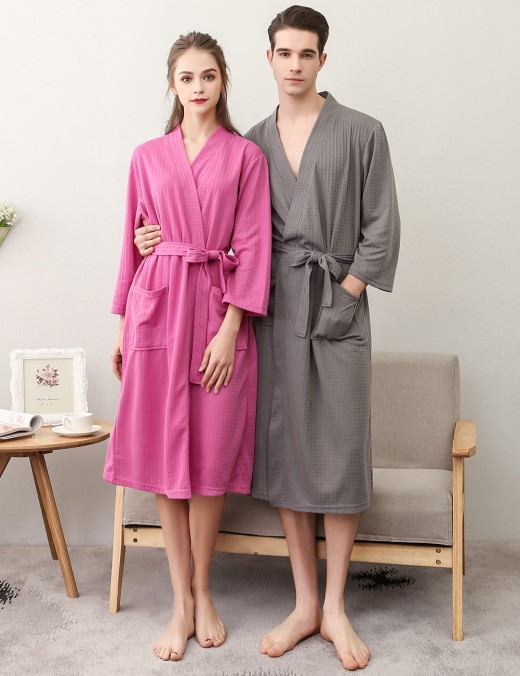 Gothic Grey Male Knee Length Plain Pockets Robe Plus Size Slim Style