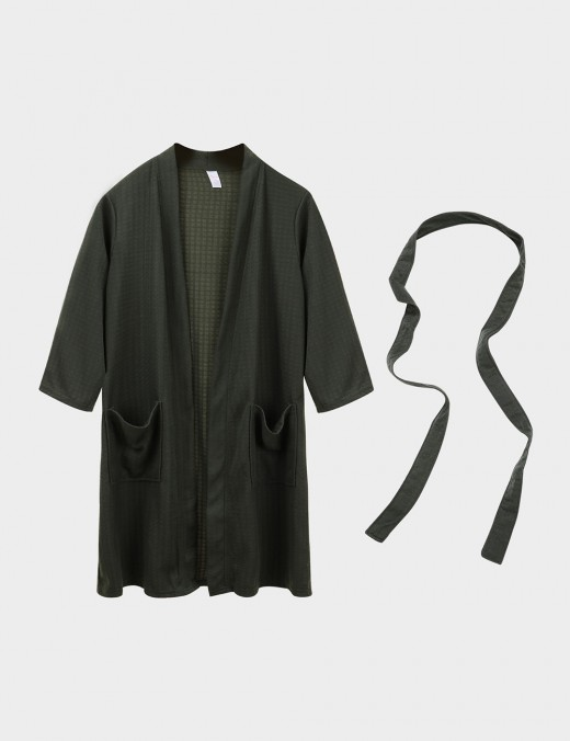 Irrepressible Army Green Belted Big Size Cotton Long Sleeves Midi Bathrobe