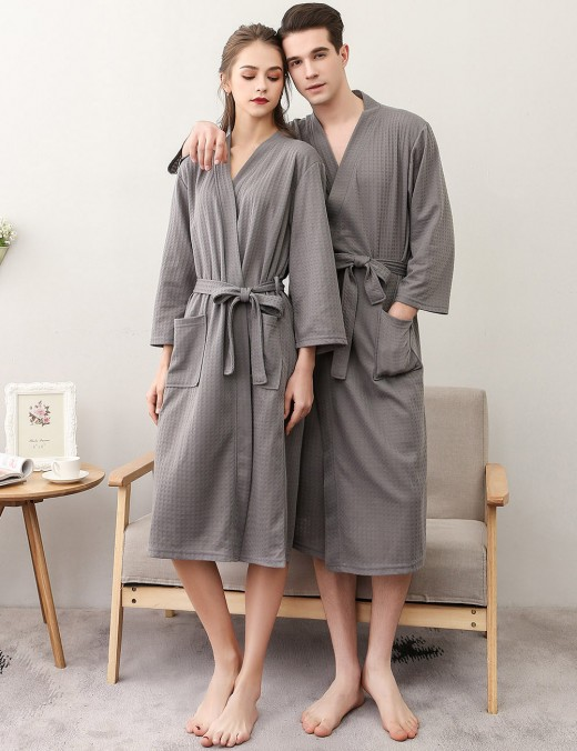 Inviting Grey Midi Length Cotton Bathing Robe Big Size Dreamgirl