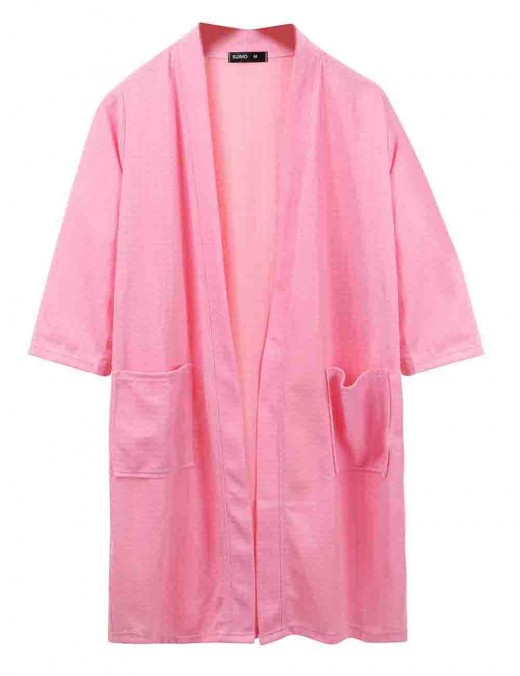 Sweet Pink Knee Length Big Size Night-Robe Long Sleeves Super Comfortable