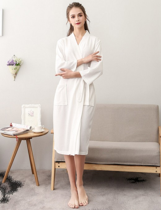 Convertible White Plain Cotton Big Size Bathrobe With Belt Honeymoon Midnight