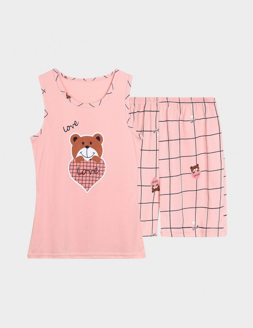 Demure Big Size Round Neck Cartoon Print 2 Pieces Sleepwear Best Refashion