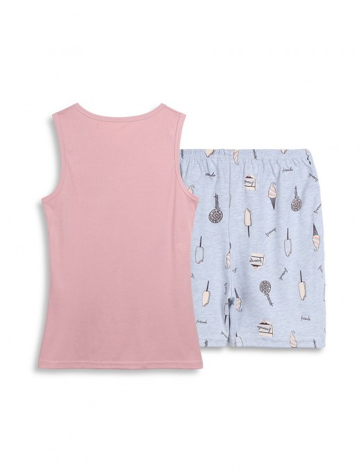 Supper Fashion Cartoon Pattern Large Size Nightwear 2 Pieces Allover Sleek