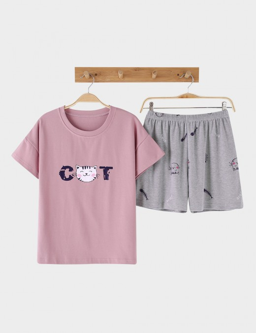 Resilient Cartoon Cotton 2 Pieces Sleepwear Short Sleeves For Woman