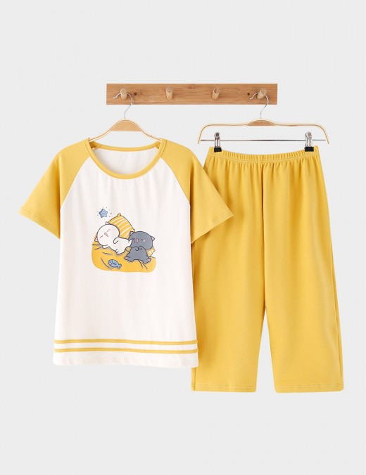 Explicitly Chosen Cotton 2 Pieces Short Sleeves Print Sleepwear Calf-Length
