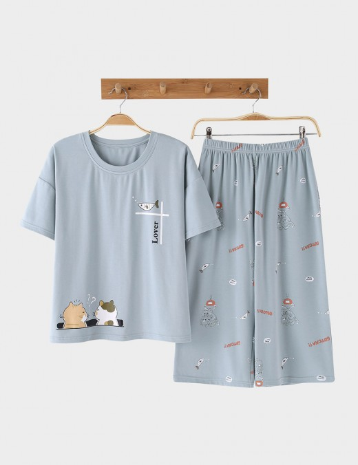 Sexy Cool Cotton Elastic Waist Printed Nightwear 2 Pieces For Romans