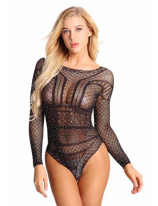 Black Long Sleeve Mesh Sheer Lace See-Through Teddy Top Quality