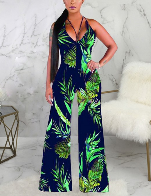 Purplish Blue Spaghetti Strap High Waist Backless Jumpsuit Holiday