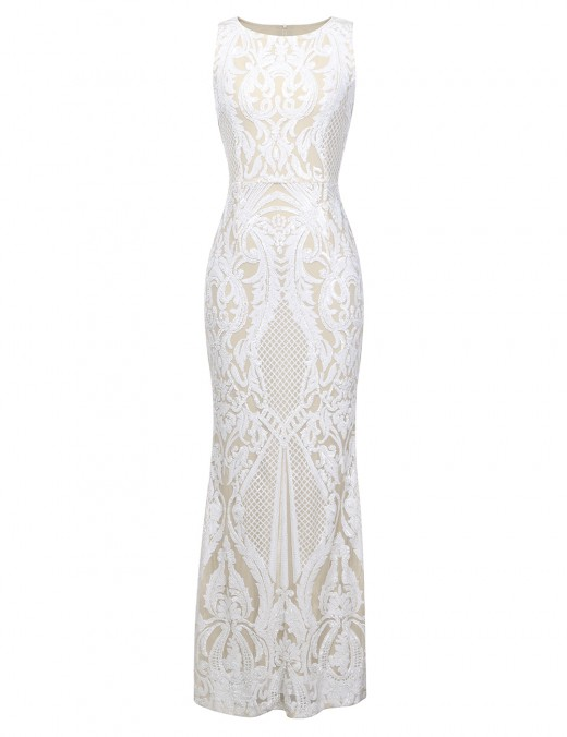 Sweety White Crew neck Embroidered Flower Paint Bandage Dress